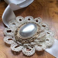 Vintage-inspired brooch sash or headband art by BlueLilyMagnolia