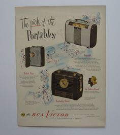 vintage advertisement ready to frame. RCA Victor portable radios. from 1948 LIFE magazine. wall art home decor collectable mid century by PickleladyVintage on Etsy