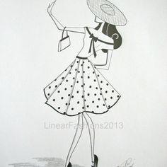 Fashion illustration / 1950s polka dot skirt / original pencil drawing / gift