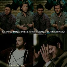 """""""Do you know how hard it is to argue with your Dad when your Dad is God? Virginia Woolf, Science Tumblr, Winchester Boys, Supernatural Funny, Misha Collins, Destiel, Family Business, Superwholock, I Laughed"""