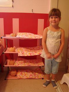 How to make baby doll bunks from Ikea show racks. I have to do this for my daughter & her baby dolls. :-)