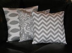 Accent pillows | Pillows Decorative Pillows gray TRIO Ikat, damask, chevron 16 x 16 ...