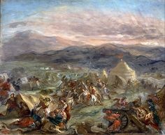 """Markos Botsaris surprises the Ottoman camp and falls fatally wounded"" by Eugène Delacroix."