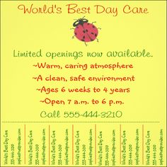 Daycare Flyer Templates  Flyer Template Template And Event Flyer