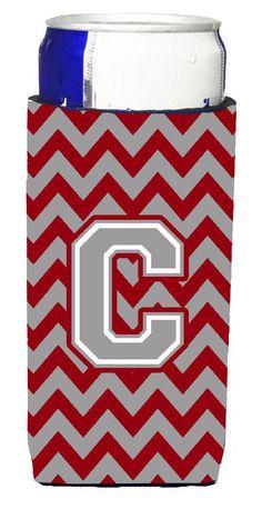 Letter C Chevron Crimson and Grey Ultra Beverage Insulators for slim cans CJ1043-CMUK