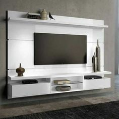 White Wood Frame Modern TV Wall Unit