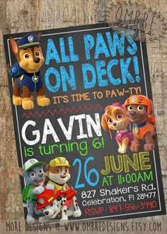Paw Patrol Invitation, Chalkboard with Skye, Paw Patrol Party, Paw Patrol Invite, Paw Patrol Birthday, Puppy, Birthday, by OmbreDesigns on Etsy https://www.etsy.com/listing/233027728/paw-patrol-invitation-chalkboard-with