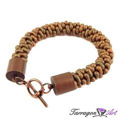Bransoletka szydełkowo koralikowa Seed Beads Farfalle - Desert Sand | Tarragon Art - stylowa biżuteria artystyczna