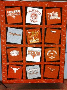 making t-shirt quilts with University of Texas t-shirts | University of Texas T-shirt Quilt