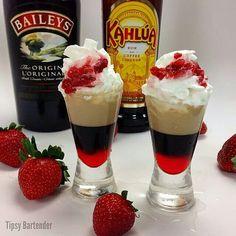 Tipsy Bartender Watch us make The Strawberry Blowjob Shot:http://youtu.be/dMQy53AmMvc STRAWBERRY BLOWJOB SHOT Grenadine Kahlua Coffee Liqueur Baileys Irish Cream Whipped Cream Diced Strawberries