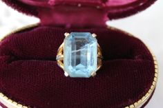 Sky Blue Cut Glass Statement Ring SZ 5, Vintage Bling for Your Next Card Party…
