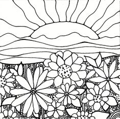 Download PrintableAdult Coloring Page digital hand drawn papers by me, printables sun sunset flowers hills shown are some examples. $1.00, via Etsy.