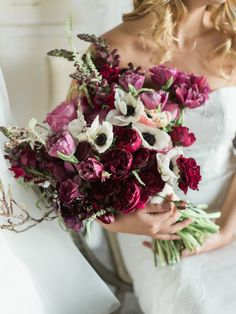 Deep pink wedding bouquet with roses, tulips and anemones | We Are Origami Photography | See more: http://theweddingplaybook.com/wedding-playbook-magazine-volume-10/