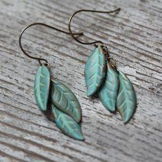 tinkerbell green leaves earrings.