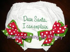 Santa Ribbon Embroidered Personalized Monogrammed Diaper Covers