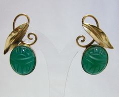 Egyptian Revival Carved Chrysoprase Scarab by GretelsTreasures