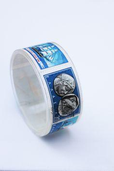plexiglass bracelet with Greek stamps by Christos Gakas