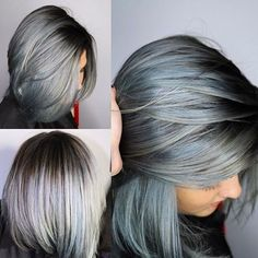 2016 hair trend - Denim Blue Hair Color. I should try this then no one would see the grey in my hair.