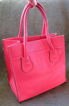 35b6f2d4224a RARE Vintage Bonnie Cashin Coach 1960s Hot Pink Mini Tote Leather Bag Lunch   BONNIECASHINforCOACH
