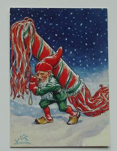 Curt Nystrom Gnome in Work Postcard Sweden T