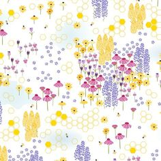 revery fabric by karinka on Spoonflower - custom fabric Custom Fabric, Spoonflower, Printing On Fabric, Free Printables, Print Patterns, Bee, Gift Wrapping, Wallpaper, Prints
