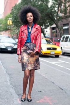 printed skirt and leather jacket