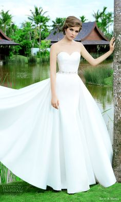 rico a mona 2015 resort collection strapless sweetheat wedding dress a line ball gown overskirt belt