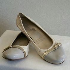 Via Spiga Womens Flat size 11m Via Spiga 2 tone Ballet Flat - Size 11M  Cream/Beige leather upper with contrasting patent leather cap toe and buckle across vamp.  Worn previously but only a few times and only in my office - never outdoor so there are no wear or marks. Via Spiga Shoes Flats & Loafers