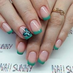 Almond-shaped nails, Casual nails, Evening nails, French nails, French with butterflies, French with painting, Mint french, Spring nails 2016