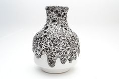 Black and  White Fat Lava vase  by ES Keramik (Emons & Sons) Germany