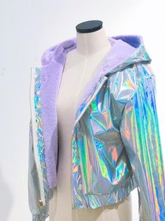 2 sides holographic jacket in 2019 Teen Fashion Outfits, Rave Outfits, Cool Outfits, Fashion Dresses, Womens Fashion, Holographic Jacket, Holographic Fashion, Holographic Fabric, Kawaii Fashion