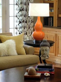 Living room - love the lamp and Buddha :)