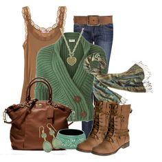 """Green n"" Brown"" by stylesbyjoey on Polyvore"