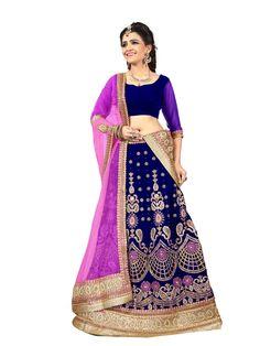 Blue Velvet Wedding Lehenga Choli 70603