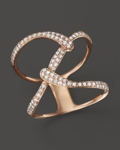 Diamond Open Weave Statement Ring in 14K Rose Gold, .35 ct. t.w.