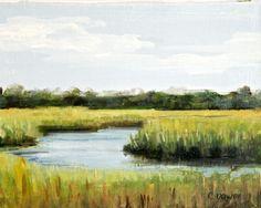 Low Country Marsh scene green blue coastal