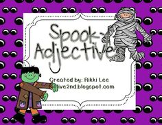 """FREE LANGUAGE ARTS LESSON - """"Spooky Adjectives"""" - Go to The Best of Teacher Entrepreneurs for this and hundreds of free lessons.   #FreeLesson     #LanguageArts   #Halloween  http://www.thebestofteacherentrepreneurs.net/2013/10/free-language-arts-lesson-spooky_12.html"""