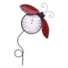 Garden Treasures Rain Gauge Item #0082413 by Garden Treasures. $25.99. INDOOR AND OUTDOOR USE. THERMOMETER READS BOTH FAHRENFEIT AND CELSIUS. WEATHER-RESISTANT RUSTIC FINISH WITH POLISH GLASS STONE ACCENTS. WALL MOUNT OR USE WITH GARDEN STAKE (INCLUDED). MAKE YOUR GARDEN LOOK BEUTIFUL WITH OUR LADYBUG THERMOMETER.