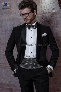 736408db77ee6 Traje de novio italiano smoking negro 1248 Ottavio Nuccio Gala Abito Da  Matrimonio Nero