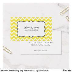 Yellow Chevron Zig Zag Pattern Fashion Designer Business Card