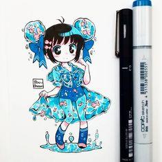 #inktober2017 Día 5: Umi seifuku. Estoy muriendo y siento auto desprecio por lo que estoy dibujando _(:'/_ No se asusten, es normal que esto pase, es parte del proceso creativo.