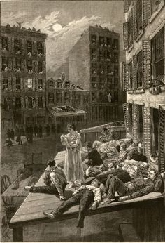 """Aug. 12, 1882: A night scene on the east side of NYC, in the """"heated term"""" and its effect upon the population of the tenement districts. Wood engraving, from Frank Leslie's Illustrated Newspaper."""