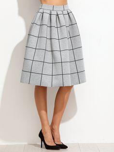 Falda plisada de cuadrícula, gris (Sheinside. 22,89€)