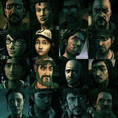 Walking dead Season 2: Carlos, Rebecca, Alvin, Pete, Sarah, Clementine, Luke, Kyle, Sarita, Kenny, Walter, ?, Bonnie, ?, ?, and CARVER THE EVIL B*STARD