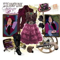 A fashion look from May 2013 featuring corset dresses, velvet jackets and antique jewellery. Browse and shop related looks. Disney Themed Outfits, Disney Bound Outfits, Disney Dresses, Steampunk Disney Princesses, Disney Prom, Evil Disney, Steampunk Clothing, Steampunk Kids, Steampunk Outfits