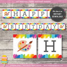 INSTANT DOWNLOAD - Art Party Rainbow Paint Party Happy Birthday Banner - for art paint  party, printable rainbow party theme decoration