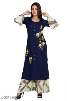 Kurta Sets Women Rayon A-line Printed Long Kurti With Palazzos Fabric: Kurti - Rayon , Palazzo - Rayon   Sleeves: Sleeves Are Included  Size: Kurti - S - 38 in, M - 40 in, L - 42 in, XL - 44 in, XXL - 46 in, Palazzo - S - 30 in, M - 32 in, L - 34 in, XL - 36 in, XXL - 38 in  Length: Kurti - Up To 46 in, Palazzo - Up To 39 in  Type: Stitched   Description: It Has 1 Piece Of Women's Kurti With 1 Piece Of Women's Palazzo  Work: Kurti - Printed , Palazzo - Printed Sizes Available: S, M, L, XL, XXL, XXXL   Catalog Rating: ★4.2 (374)  Catalog Name: Women Rayon A-line Printed Long Kurti With Palazzos CatalogID_304408 C74-SC1003 Code: 707-2283260-