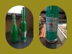 Geverfde flessen met decoratie
