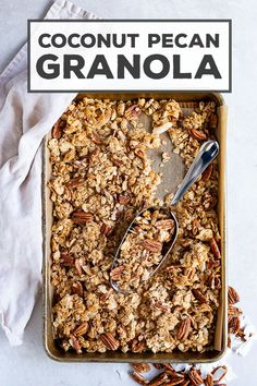 This easy recipe for coconut pecan granola will be your new go-to! It clumps easily thanks to a combination of honey and coconut oil with a hint of cinnamon. This is the recipe that made me start making granola all the time! Brunch Recipes, Gourmet Recipes, Breakfast Recipes, Dessert Recipes, Cooking Recipes, Freezer Recipes, Freezer Cooking, Free Breakfast, Drink Recipes