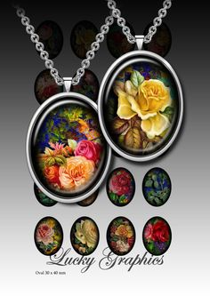 Digital collage sheet 30x40 mm oval for resin jewelry Printable Download  Set 18